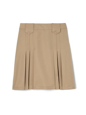 FRENCH TOAST - (Plus) Adjustable Waist Front Tab Pleated Skirt KHAKI