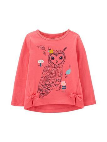CARTER'S - Long Sleeve Owl Top - Toddler Girl PINK