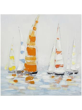 STYLECRAFT  -  Friends That Sail Together Bold Colorful Canvas Painting ORANGE