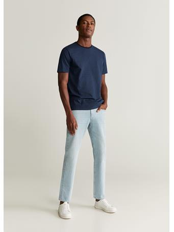 MANGO - Bestripe Cotton T-Shirt NAVY