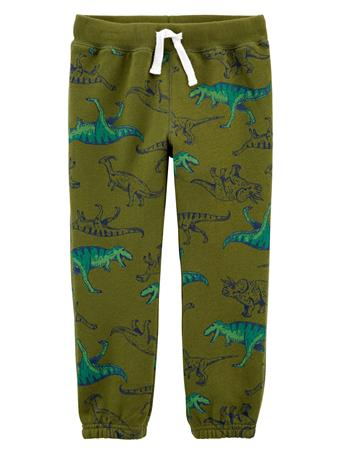 CARTER'S - Dinosaur Pull-On Fleece Pants - Toddler Boy  GREEN