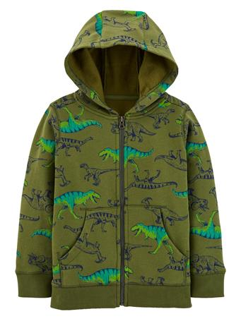 CARTER'S - Dinosaur Zip-Up Fleece-Lined Hoodie - Boy 5-8 GREEN