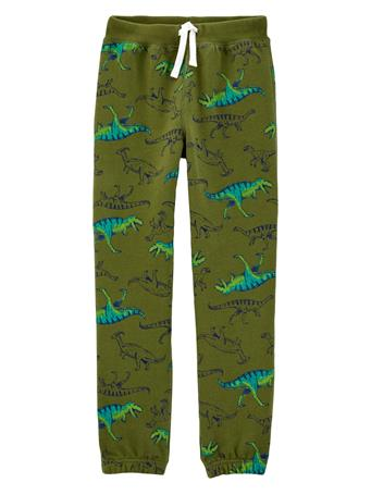 CARTER'S - Dinosaur Pull-On Fleece Pants - Boy 5-8 GREEN