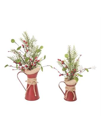 TRANSPAC - Metal Pitchers with Snowflakes RED