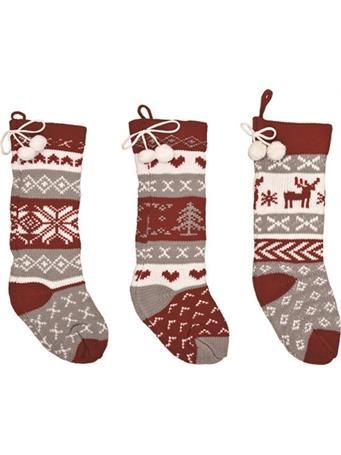 TRANSPAC - Knit Fabric Christmas Stockings (Set of 3) NOVELTY