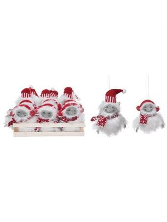 TRANSPAC - Mini Plush Yeti Ornament (Set of 12) NOVELTY