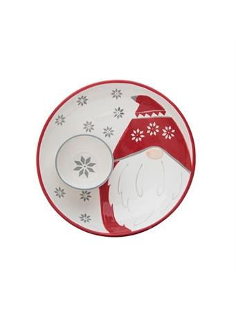 TRANSPAC - Gnome Plate with Snowball Chip & Dip Bowl NOVELTY