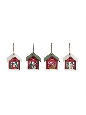 TRANSPAC - Light-Up Christmas House Ornament SANTA/ WHITE