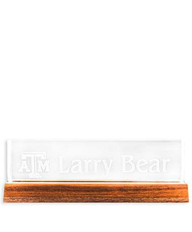 CUSTOM ORDER ITEM: Texas A&M Name Plate with Wood Base
