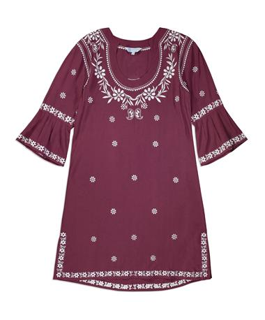 Maroon Escapada Embroidered Jillian Dress