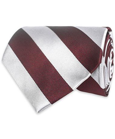 Maroon & Grey Striped Tie