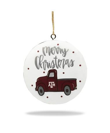 Texas A&M Magnolia Lane Merry Christmas Maroon Truck Ornament