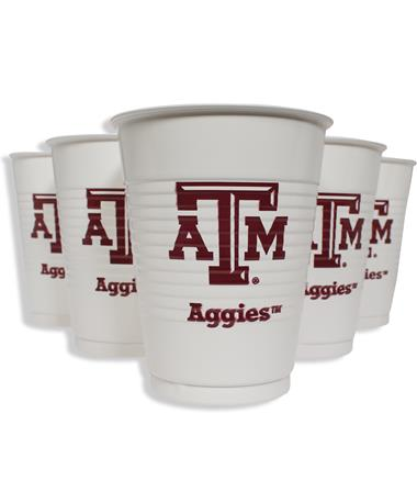 Texas A&M Aggie Disposable Plastic 14oz Cups 8ct
