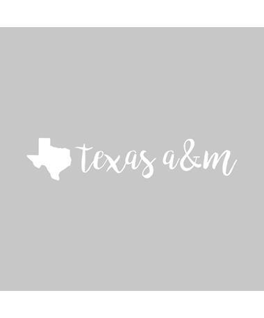 Texas A&M State Handwritten Script Car Decal