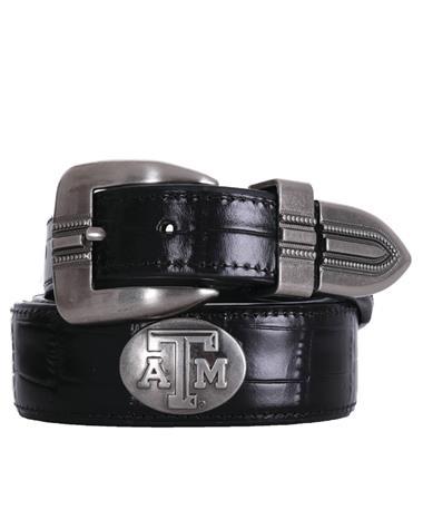Texas A&M Zepplin Crocodile Concho Belt