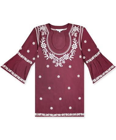 Maroon Escapada Embroidered Montreux Tunic