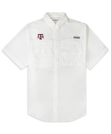 Texas A&M Columbia Tamiami Short Sleeve White Fishing Shirt
