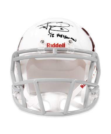 Johnny Manziel Heisman Signed White Riddell Mini Helmet