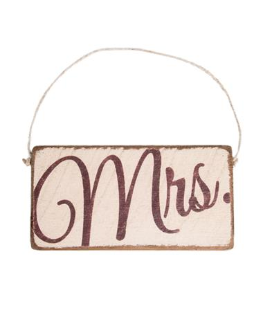 Maroon Mrs. Rustic Mini Plank Sign
