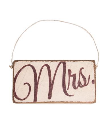 Maroon Mrs. Rustic Mini Plank Sign