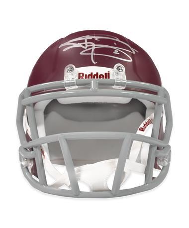 Johnny Manziel Maroon Mini Signed Helmet