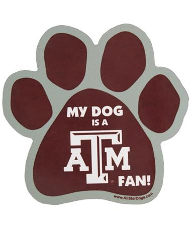 Texas A&M My Dog Is A Fan Paw Magnet