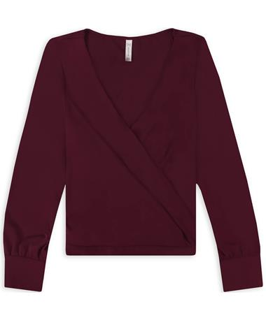 Maroon Deep V Long Sleeve Andes Blouse