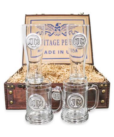 Heritage Pewter Dark Wood Beer Chest Set
