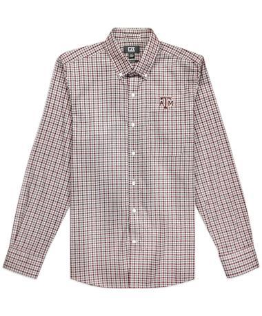 Texas A&M Cutter & Buck Long Sleeve Lakewood Check Button Down Shirt