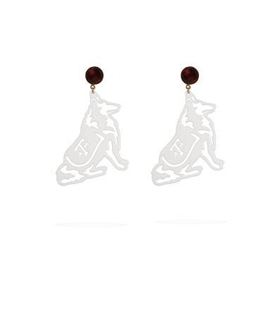 Texas A&M White Reveille Garnet Earrings