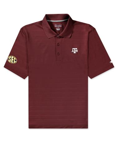 Texas A&M Champion Textured Solid Polo