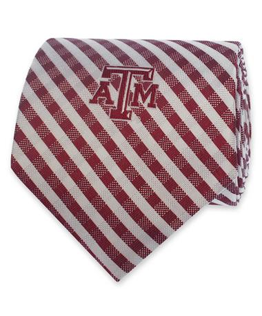 Texas A&M Maroon & White Gingham Tie