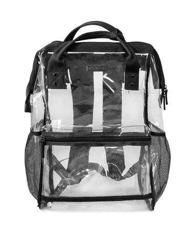 Black Hinge Top Clear Backpack