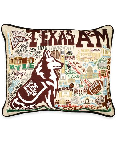 Texas A&M CatStudio Embroidered Pillow