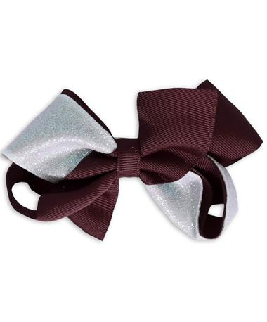 Maroon & White Glitzy Medium Bow