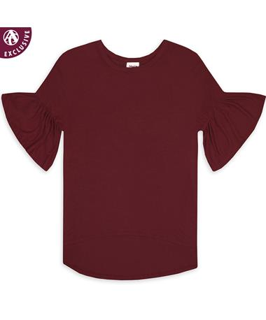Maroon Women's Ruffle Sleeve Blouse
