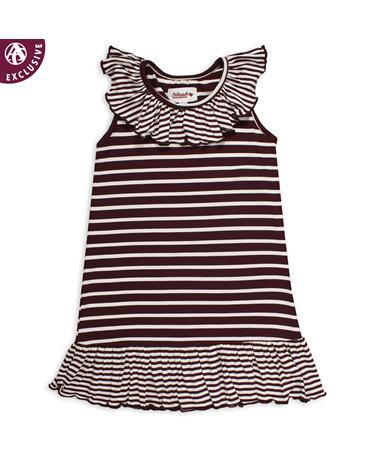 Maroon & White Striped Infant/Toddler Dress