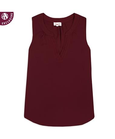 Maroon Women's Sleeveless V-Neck Blouse