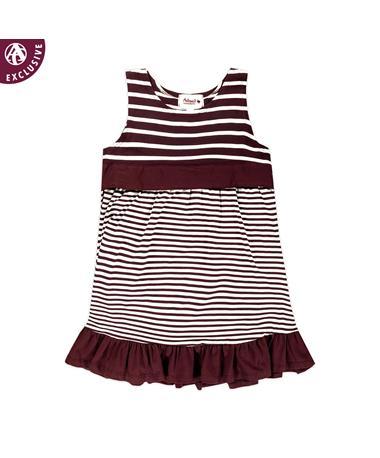 Maroon Toddler Striped Ruffle Dress
