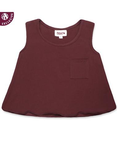 Maroon Toddler Girls Pocket Tank Top