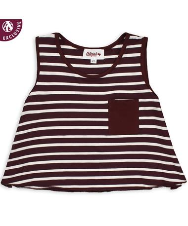 Maroon & White Striped Toddler Pocket Tank