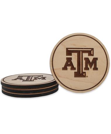 Texas A&M Beveled Logo Maple Coasters