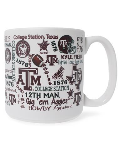 Texas A&M Word Collage Wraparound Matte Mug
