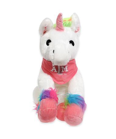 "Texas A&M 13"" Rainbow Bandana Unicorn"