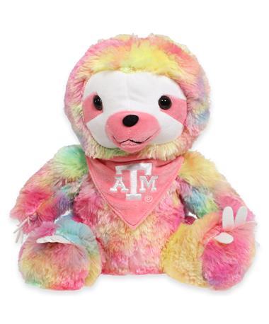 "Texas A&M 12"" Rainbow Bandana Sloth"