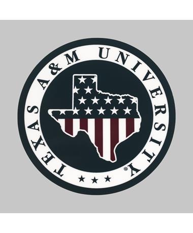 Texas A&M American Flag Circle Dizzler Sticker