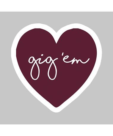 Texas A&M Gig 'Em Heart Dizzler Sticker
