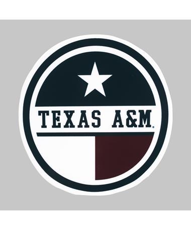 Texas A&M Round Texas Flag Dizzler Sticker