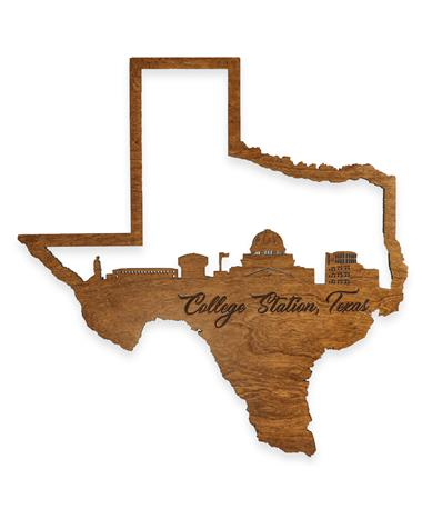 College Station Skyline Wall Hanging Sign