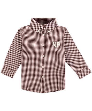 Texas A&M Garb Infant Woven Gingham Button Down Shirt